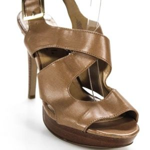 Lumiani Brown Peep Toe Ankle Strap Heels 9.5